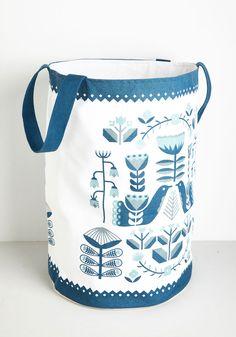 Delft-Centered Hamper. Give your home decor a Delft-tistical twist with this white cotton hamper! #multi #modcloth