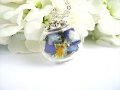 Items similar to Purple Pansy Real Flower Necklace Wedding Jewelry Botanical Jewelry on Etsy