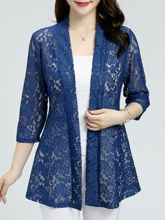 Lace Long Sleeve Cardigans ,berrylook clothing, berrylook shoes in 2020 Dress Shirts For Women, Cardigans For Women, Blouses For Women, Stylish Dress Designs, Stylish Dresses, Stylish Shirts, Kurti Neck Designs, Blouse Designs, Casual Skirt Outfits