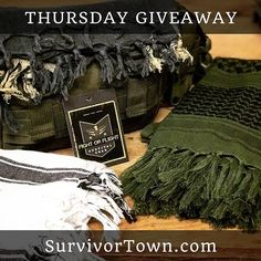 🇺🇸🏕👊Hey evryone Thursday night we are giving away a shemagh tactical scarf of your choice!  It's super easy to enter so don't miss out! *** ➡️How to enter, must do all three: 1️⃣Tag a friend in comments. Each friend is another entry.  2️⃣Follow @Survivor_town 3️⃣Like this post *️⃣BONUS*️⃣ repost and 5 extra entries!  #fightorflightgaw *** Good Luck! Must be 18. Sorry US only please.  #bugoutbag