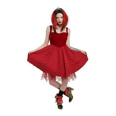 Disney Alice Through The Looking Glass Red Queen Heart Dress Hot Topic ($64) ❤ liked on Polyvore featuring dresses, cocktail dresses, corset dress, long evening dresses, long corset and red evening dresses