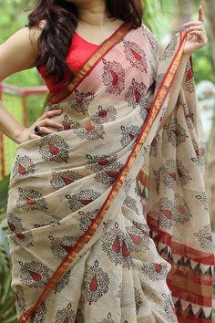 Handblock Printed Kota Doria Saree by Dvija Chanderi Silk Saree, Cotton Saree, Chiffon Saree, Silk Sarees, Kota Silk Saree, Kalamkari Saree, Formal Saree, Saree Floral, Block Print Saree