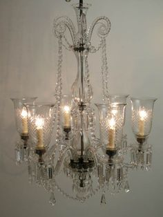 Cut crystal #chandelier six light with candy spiral top, cut glass storm shades, Victorian style, 112cm high x 80 cm diameter. **X6 available to hire** (Stock code;- LIGC10071)    This item is also available to purchase-for further information please visit, www.farleyfinefurniture.co.uk Prop Hire, Clever Design, Cut Glass, Victorian Fashion, Antique Furniture, Chandeliers, Spiral, Shades, Ceiling Lights