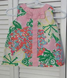 Lilly Pulitzer Baby Dress 3 to 6 Month Top Floral Pink Yellow Bow Swing #LillyPulitzer #Everyday