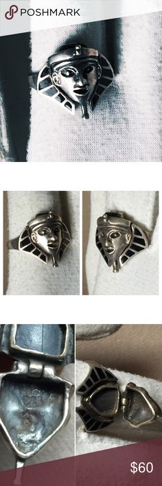Vintage Sterling Egyptian King Tut Poison Ring This is just an awesome unique Sterling Poison ring.  It's all 925 Sterling silver and features an Egyptian King Tut face that is hinged and lifts up to reveal a poison ring.  It's about a 9.5 possibly 9.75.  For some it would make an awesome thumb ring!  The clasp opens and closes however is not super tight as can happen with time but it is working.  Note that this is an older vintage item that has been worn and loved so it will have some wear…