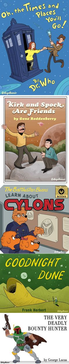 Sci Fi children's books - I wish they were real!  Also, Papa Bear makes a surprisingly impressive Admiral Adama.