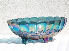 Blue Carnival Glass Footed Harvest Grape Bowl Love this