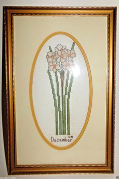 Vintage Cross Stitch December Flower Narcissus Daffodil Matted Finished Framed  #Unknown