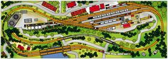 Ho Trains, Model Trains, Ho Train Layouts, Model Railway Track Plans, Ho Scale, Planer, Mansions, House Styles, Diorama