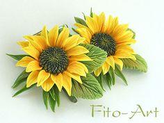 Купить Зажимы с подсолнухами - цветы из полимерной глины, подсолнухи, желтые цветы, украшения для волос