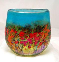 Pure beauty! California Poppy Crucible Vase Glass Art - Robert Held