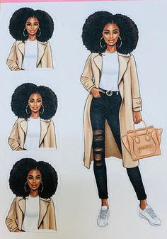 Multiple image sheet with beautiful natural hair style. Black Girl Cartoon, Black Girl Art, Black Women Art, Black Girl Magic, Black Art, Outfits Dress, Cute Outfits, Tomboyish Outfits, Girl Haircuts