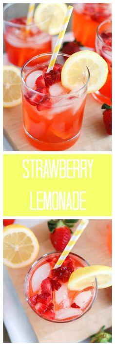 Strawberry Lemonade - The BEST strawberry lemonade. Made with fresh lemon juice and strawberries, everyone will love this recipe!