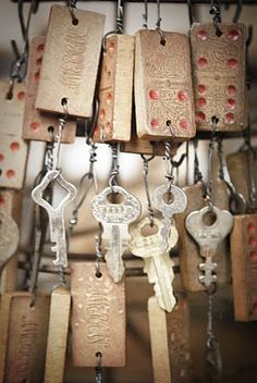 Old dominoes and keys ornaments