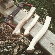 Woodsman's Finest hand made axe handles using a shave horse and vintage razor drawknife. From ash, rowan and birch.