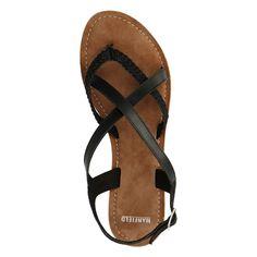 Zwarte leren sandalen - Dames | MANFIELD