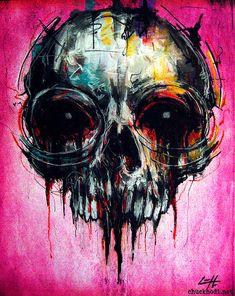 Print 11x14 Skull Abstract Skeletons Macabre Dark by chuckhodi