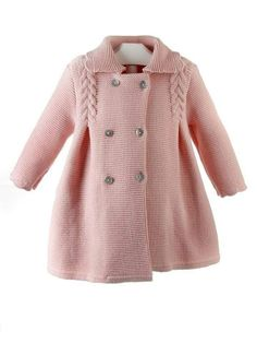 Baby Girls Beige Knitted Pram Coat for Girl by Foque. Discover more beautiful designer Coats Knitting For Kids, Baby Knitting Patterns, Crochet For Kids, Baby Patterns, Knitting Projects, Baby Cardigan, Hooded Cardigan, Tricot Baby, Knit Baby Sweaters