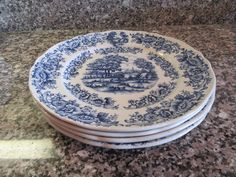 Four vintage Myott Meakin (England)1982 blue white pasture scene dinner plates for one price- fine condition, beautiful by HeathersCollectibles on Etsy