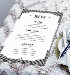 Bespoke design Great Gatsby themed Menu. Printed on triple layer card. Created by www.invitedto.co.uk