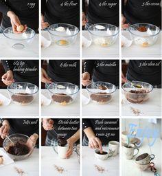 5 min chocolate, nutella and caramel mug cake