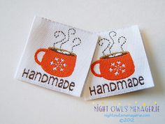 Hot Cocoa 'Handmade'  set of 25 clothing labels