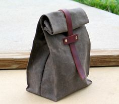 Waxed Canvas and Leather Lunch Tote Waxed Canvas Lunch Bag by Zakken on Etsy https://www.etsy.com/listing/159447952/waxed-canvas-and-leather-lunch-tote