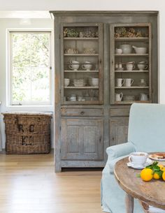 French Country decor in a modern farmhouse kitchen at Patina Farm by Giannetti Home. Antique French cabinet with weathered wood and a lovely patina. Inspiring interior design inspiration in modern French farmhouse kitchen. Metal Industrial, Industrial Farmhouse Decor, Vintage Industrial Decor, Farmhouse Bedroom Decor, Industrial House, Industrial Interiors, Industrial Style, Industrial Shelving, Industrial Office
