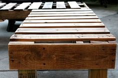 13 Awesome Outdoor Bench Projects, Ideas & Tutorials! • See how 'accessorize & organize' made this great diy outdoor sectional from wood pallets.