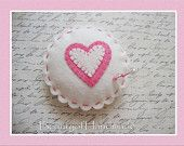 Wool Felt Heart Pincushion Pillow, Beads Stick Pin,bowl filler,pin cushion, applique embroidery
