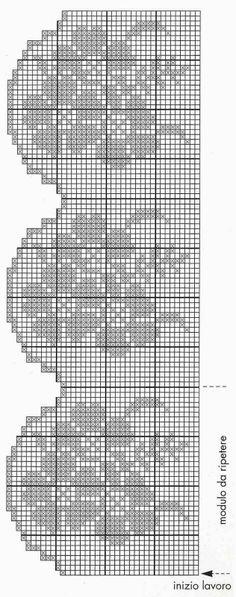 Filet crochet edging - would make a nice valance Filet Crochet Charts, Crochet Motifs, Crochet Borders, Crochet Diagram, Crochet Doilies, Crochet Stitches, Crochet Home, Crochet Trim, Free Crochet