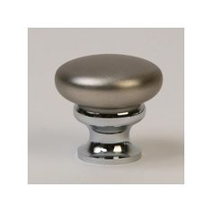This two-tone brushed nickel & polished chrome finish die cast zinc cabinet knob with mushroom design is part of the Metal Mushroom Knobs Series from Lew's Hardware. This knob features a classic mushroom design that can be used in a traditional or modern setting.