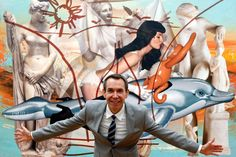 American artist Jeff Koons hams it up for photographers in front of the painting 'Antiquity 3' (2009-2011) at the opening of the 'Jeff Koons. The Painter and the Sculptor' exhibition at the Schirn Kunsthalle gallery in Frankfurt, central Germany, on June 20, 2012. The show runs until September 23, 2012.