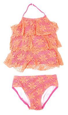 Two Piece Bowknot Shape Bikini Hairband Yellow Swimsuit Swimming Costume Beachwear for 2-6 Year Old Little Girl