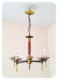 Vintage Mid Century Brass And Wood Chandelier