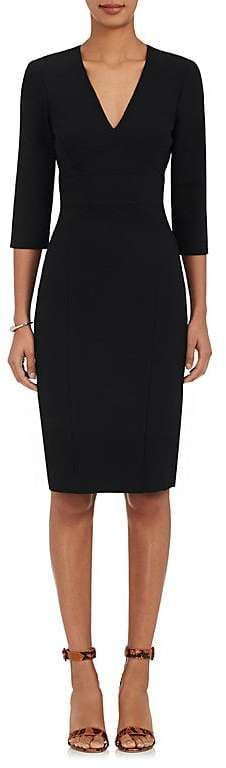 Narciso Rodriguez Women's Crepe Fitted Sheath Dress. Narciso Rodriguez's fitted sheath dress is crafted in panels of black stretch crepe.      V-neck. Darting at front and back. Three-quarter-length sleeves. affiliate link