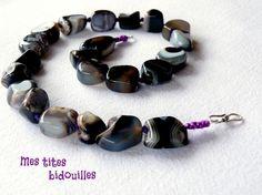 Collier Agate Violette Multicolore *PIERRES et ARGENT 925*