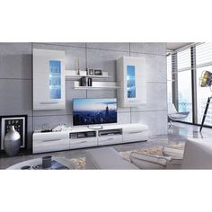 medienwand air in wei hochglanz mit absetzung in beton industry das stylische design und die. Black Bedroom Furniture Sets. Home Design Ideas
