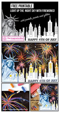 Kids! Light up the sky this 4th of July. Transform this night time silhouette into a firework display to remember.  Free template to download at www.The ImaginationBox.com
