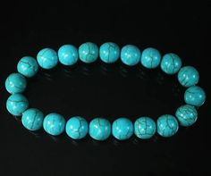 Charming Howlite TURQUOISE Blue BALL BEADS Chain Stretch Bracelet