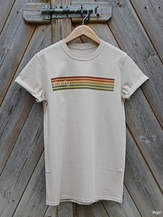 3ec2d01a 70s retro striped t shirt from Edify Clothing, available in a range of  colours, premium soft cotton ethical tee