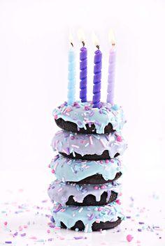 Chocolate Birthday Cake Doughnuts