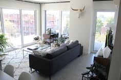 A Brooklyn couple and their two month old baby boy live in this bright two bedroom corner unit in Prospect Lefferts Gardens. There is plenty of sun, a balcony, and beautiful contemporary features.