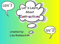 Contractions SmartBoard Lesson for Primary Grades (.notebook file) **FREE**