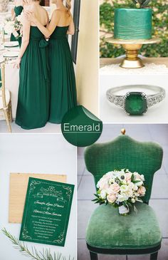 vintage emerald green wedding color ideas and wedding invitations