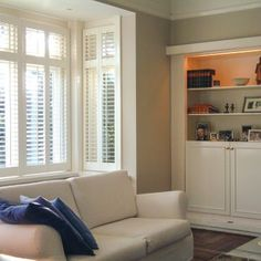 Bay Window Shutters Shutter Blinds For Square, Curved Windows UK House Blinds, Blinds For Windows, Curtains With Blinds, Bay Windows, Cheap Windows, Bay Window Shutters, Bay Window Curtains, Bedroom Shutters, Window Blinds