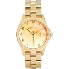 Marc By Marc Jacobs Gold Bracelet Watch With Tinted Dial ($345) ❤ liked on Polyvore featuring jewelry, watches, accessories, marc jacobs, orologi, gold-tone watches, gold watch bracelet, marc by marc jacobs watches, gold jewelry and bezel watches