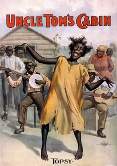 Topsy from Uncle Tom's Cabin - The Lithograph was created in 1899, by the Courier Lithograph Company. This broadside features a festive picture of an African American Woman, Topsy, dancing to music made by several black men in the background.
