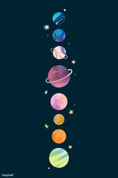 Colorful galaxy watercolor doodle on black background vector Aesthetic Pastel Wallpaper, Retro Wallpaper, Colorful Wallpaper, Cartoon Wallpaper, Aesthetic Wallpapers, Disney Wallpaper, Star Wallpaper, Wallpaper Quotes, Space Phone Wallpaper