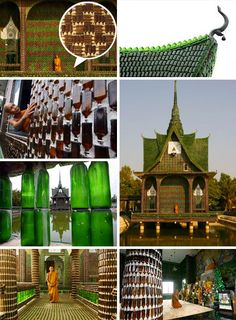 Buddhist temple made entirely from recycled glass bottles.  Thailand - The Wat Pa Maha Chedi Kaew temple is about 400 miles northeast of Bangkok in the city of Khun Han close to the Cambodian border. Using Heineken bottles (green) and Chang Beer bottles (brown)
